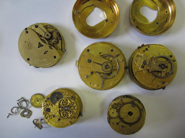 A lot of five interesting and various pocket watch movements
