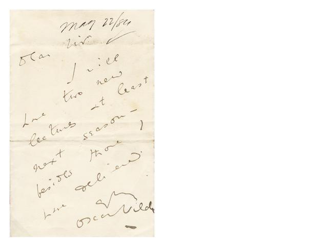 WILDE (OSCAR) Autograph letter signed, 1884