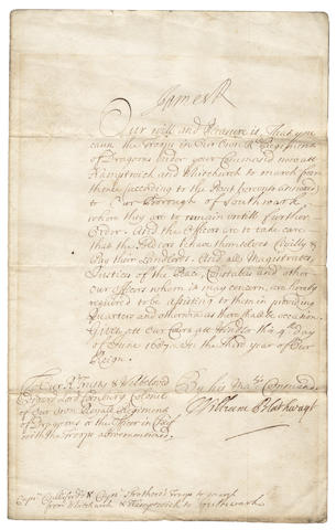 "JAMES II. Document signed (""James R"" at head), to Edward Lord Cornbury, Colonel of the Royal Regiment of Dragoons, 1687"