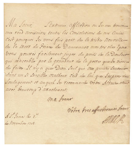 "ANNE, Queen. Letter signed (""Anne R"") and subscribed, in French, to the Dowager Duchess of Savoy, 1708"