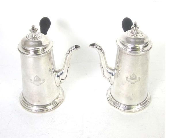 A matched pair of cafe au lait pots By Martin Hall & Co Ltd, Sheffield 1911-12