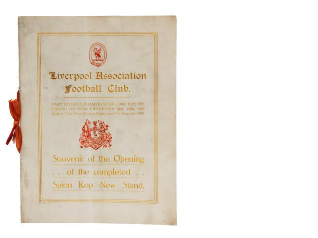 1928 Liverpool Spion Kop opening programme