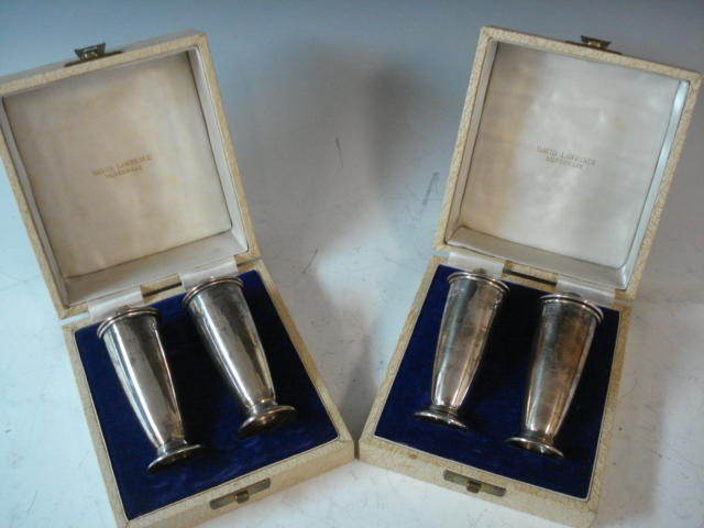 A modernist pair of silver salt and peppers by David Lawrence, Birmingham 1964