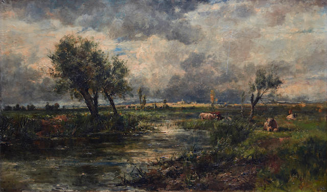 Johannes Hubertus Leonardus de Haas (Dutch, 1832-1908) River landscape with cattle