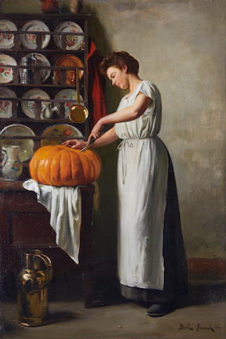 Franck Antoine Bail (French, 1858-1924) Carving the pumpkin