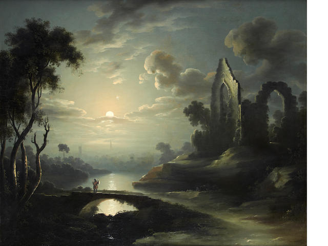 Attributed to Sebastian Pether (British, 1790-1844) Traveler in a moonlit riverscape