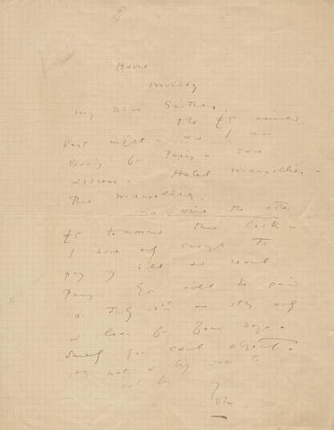 "WILDE (OSCAR) Autograph letter signed (""OW""), to his publisher Leonard Smithers (""My Dear Smithers""), begging for £5, 1899"
