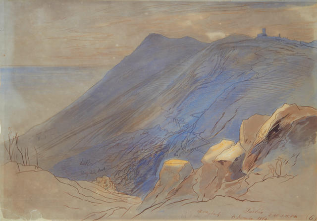 Edward Lear (British, 1812-1888) Turbia (La Turbie) in southeastern France