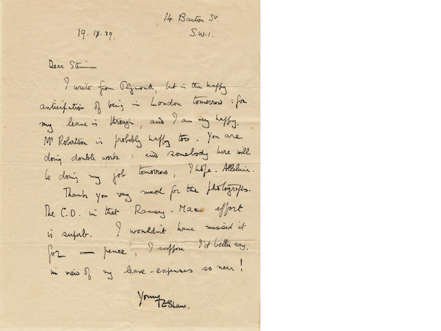 "LAWRENCE (T.E.) Autograph letter signed (""TEShaw""), to John Steinman, press officer and photographer at the Air Ministry, 1929"