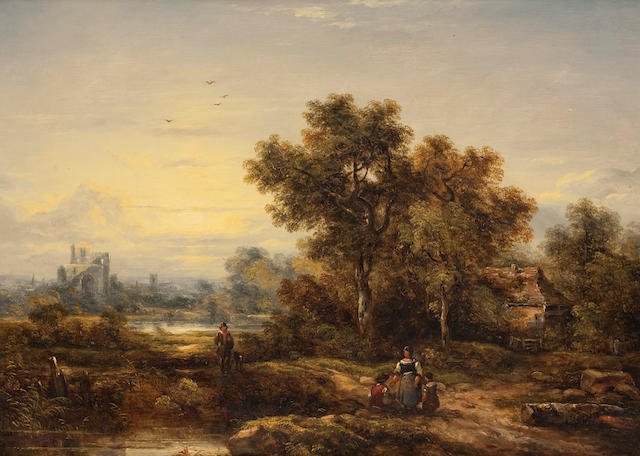 Richard H. Hilder (British, 1813-1852) Pastoral with church beyond