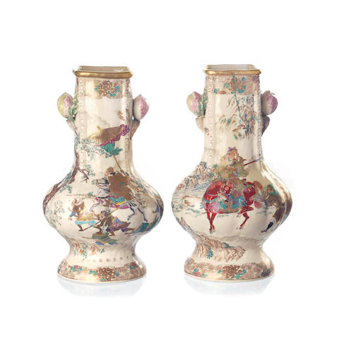 A pair of Meiji earthenware vases  Kinkozan, early Meiji