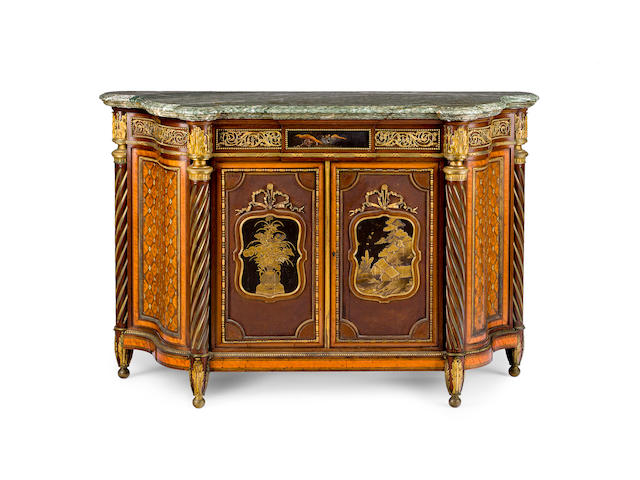 An important 1867 Great Exhibition Louis XVI style lacquer and ormolu-mounted satinwood, amaranth and parquetry meuble à hauteur d'appuiby Louis Auguste Alfred Beurdeley, Paris