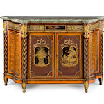 An important 1867 Great Exhibition Louis XVI style  lacquer and ormolu-mounted satinwood, amaranth and parquetry  meuble à hauteur d'appui by Louis Auguste Alfred Beurdeley, Paris