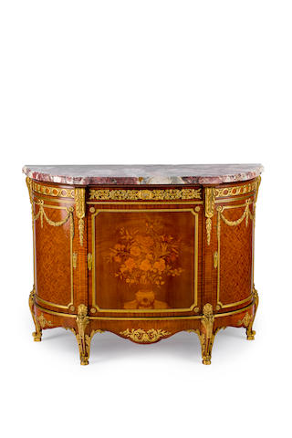 A French late 19th century Louis XV style satinwood, marquetry and gilt bronze mounted side cabinet