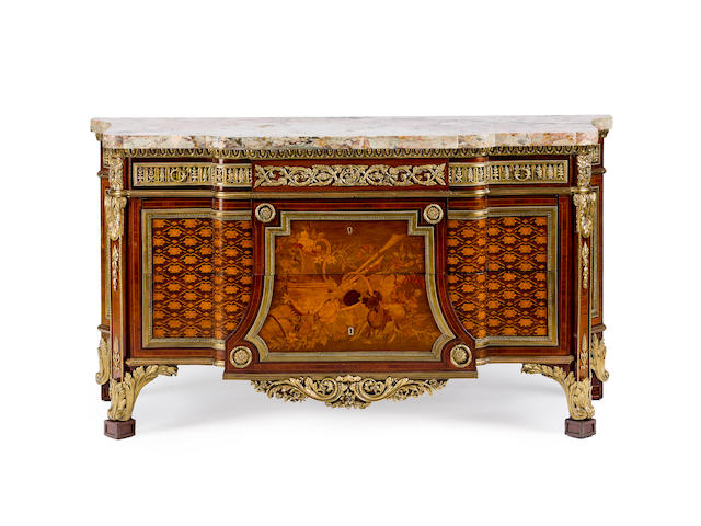 A French late 19th century Louis XVI style ormolu-mounted amaranth, sycamore, marquetry and parquetry breakfront commode after a model by Jean Henri Riesener
