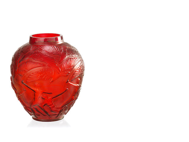 An Lalique style 'Red Archers' vase