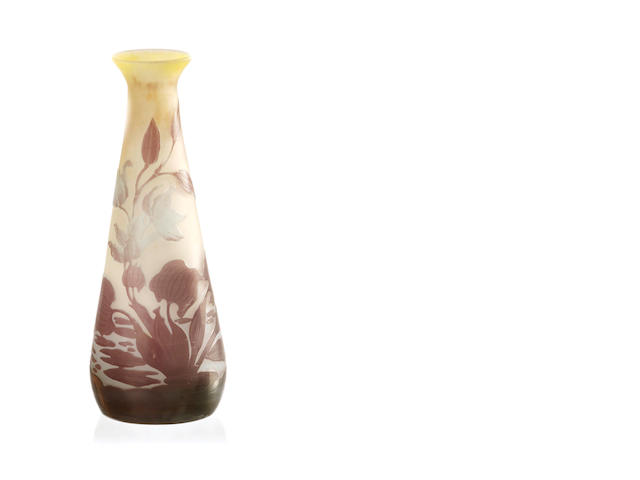 A Galle three colour applied columbine cameo glass vase early 20th century
