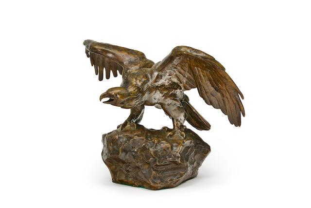 After Antoine-Louis Barye  A bronze Figure of an Eagle