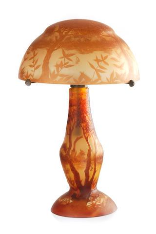 A Daum Nancy style landscape table lamp