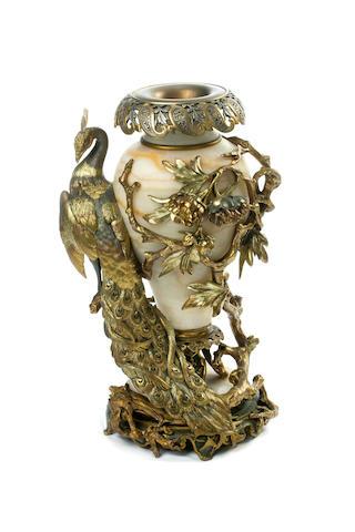 A Belle Époche gilt and silvered bronze alabaster vasecirca 1900