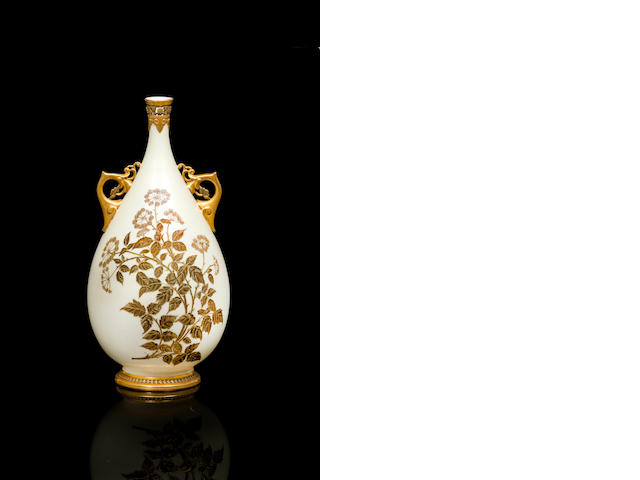 A Royal Worcester twin handled bottle shaped vase 1884