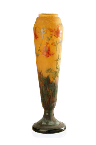A large Daum Nancy  four colour cameo pedestal vase circa 1900