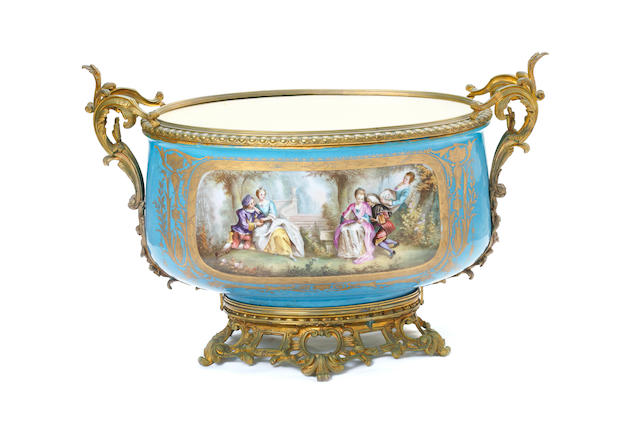 A large Sèvres style twin handled jardiniere  19th/20th century