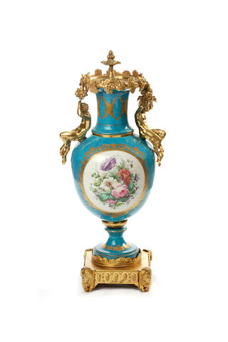 A large French ormolu mounted Sévres style pedestal vase  19th century
