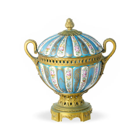 A Sévres ormolu mounted cache pot and cover 19th century