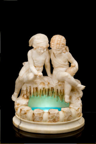 An early 20th century Italian alabaster and marble figural table lampSigned U. Sliaccini