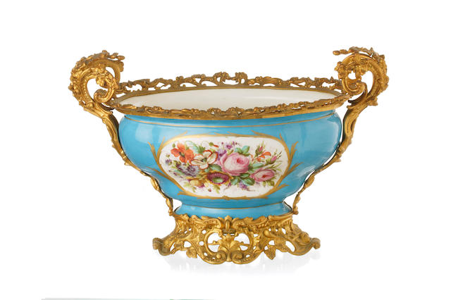 A Sévres style twin handled jardiniere 19th century