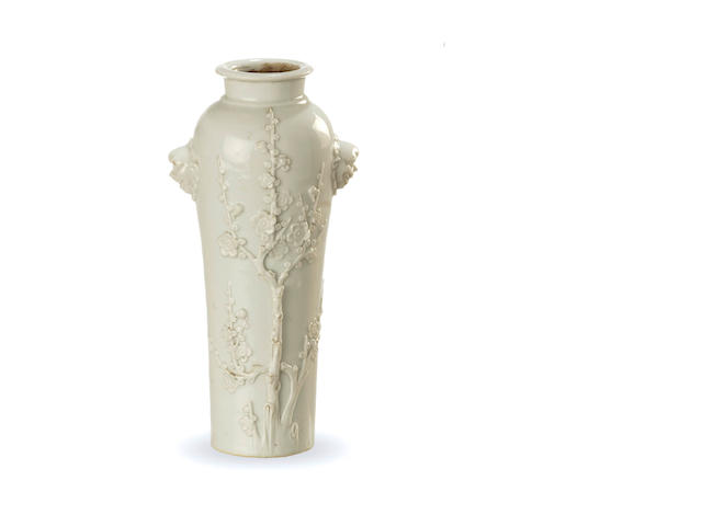 A fine blanc de chine vase 18th century, possibly Kangxi