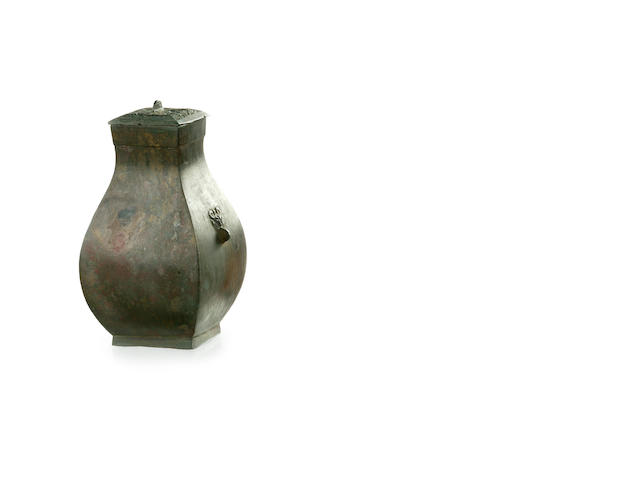 A Chinese bronze jar and cover, fang hu