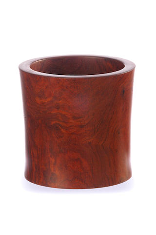 A hardwood brush pot 20th century
