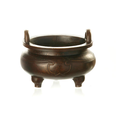 A bronze tripod incense burner 19th century