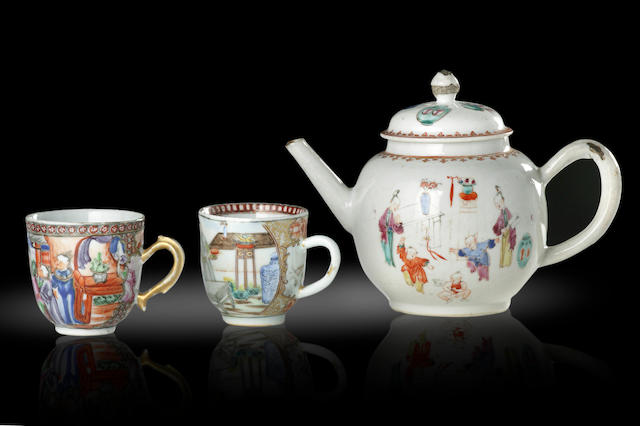 An exportware famille rose tea pot and two tea cups Qianlong