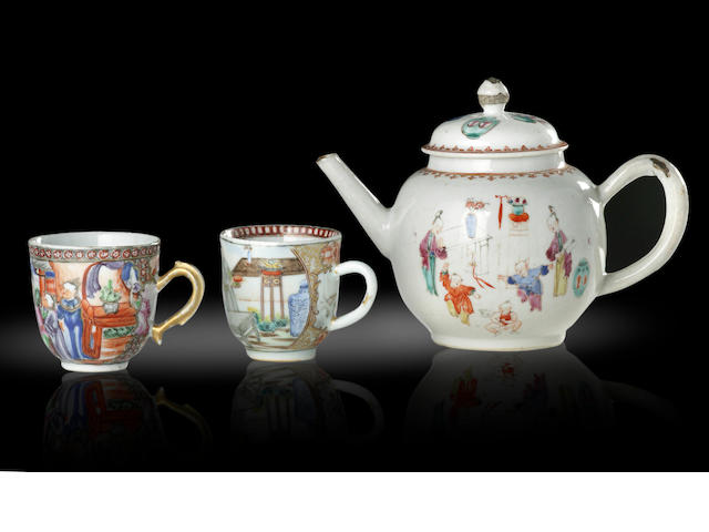 An exportware famille rose tea pot and two tea cups Qianlong