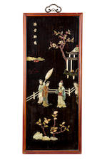 Four panels of Chinese screens with inlaid hardstones 19th century
