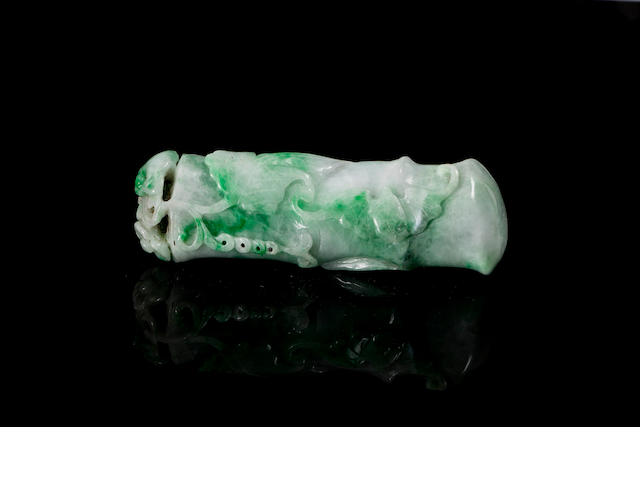A carved jadeite bamboo 19th/ 20th century