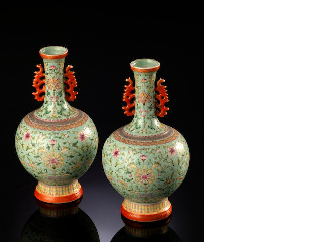 A pair of famille rose vases Daoguang seal mark, Republic period