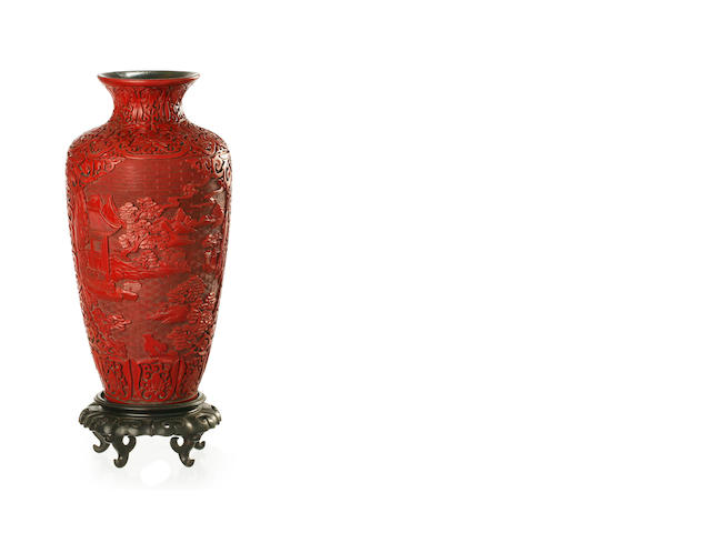 A carved cinnabar lacquer (over wood) vase Late Qing or Republic