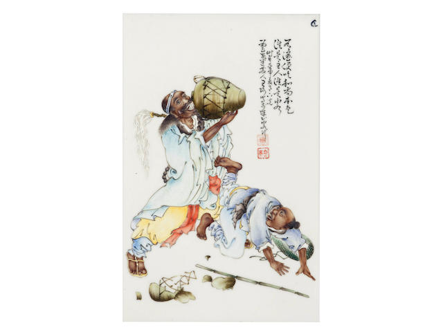 A framed enamelled rectangular plaque of a monk enjoying a bucket of wine Attributed to Wang Qi (1884 - 1937), Republic period