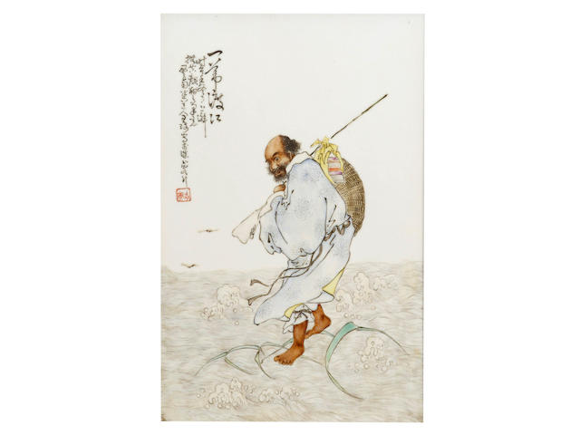 A framed enamelled rectangular plaque of Bodhidharma crossing the Yangtze River Attributed to Wang Qi (1884 - 1937), Republic period