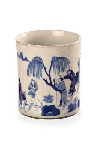 A blue and white ceramic brushpot 19th century