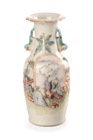 A famille rose vase late 19th/ 20th century