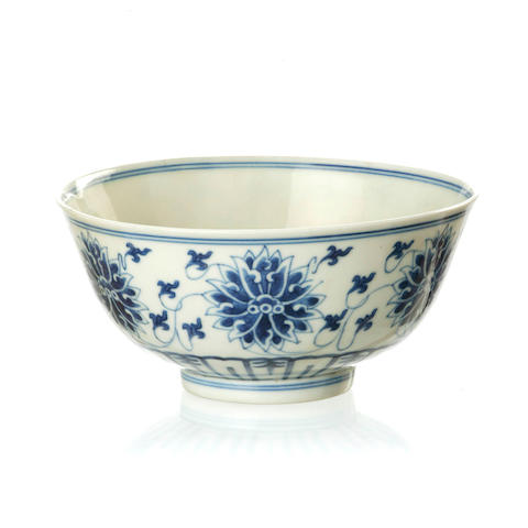 A blue and white 'lotus' bowl 20th century