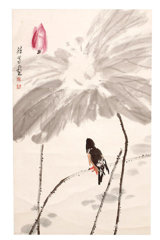 Attributed to He Jidu (1939 - ) Crow and Lotus