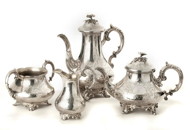 A Victorian silver matched four-piece tea and coffee service   by the Barnards, London  1836, 1838 and 1853,   (4)