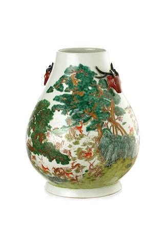 A pear-shaped 'hundred deer' vase 20th century