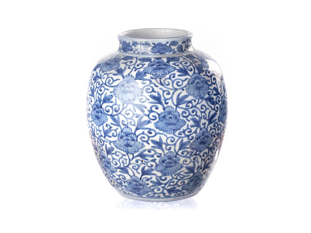 A Chinese Ming blue and white jar 17th/ 18th century